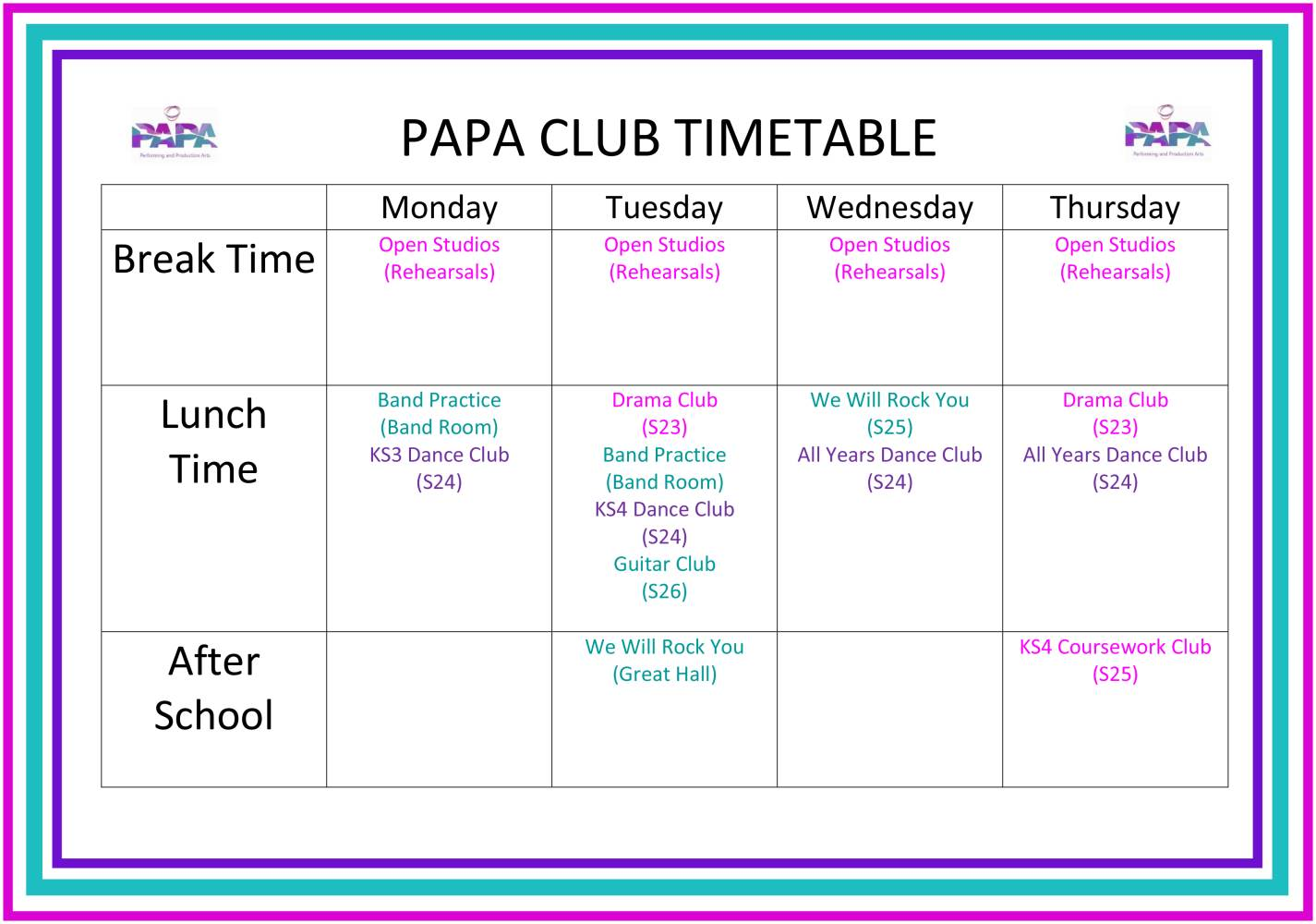 PAPA EXTRA-CURRICULAR TIMETABLE